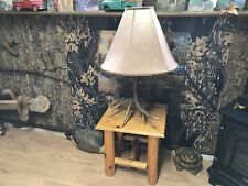 Rustic Log End Table With Antler Lamp