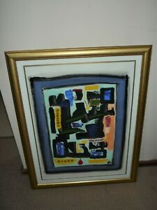 VINTAGE ABSTRACT OIL PAINTING ON PAPER SIGNED MR & TITLED PRODUCTION X11/97