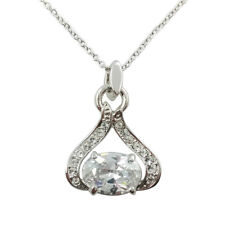 Fashion Jewelry - 18k White Gold Plated Oval CZ Necklace (FN085)