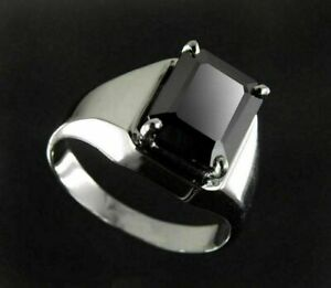 6.50 Ct Emerald Cut Black Diamond Engagement Ring Men's Ring For Wedding Gift