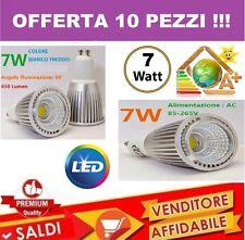 10 PZ. FARO FARETTO LED 7W SPOTLIGHT COB INCASSO LAMPADINA SMD LUCE FREDDA SPOT