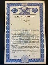 1950 SUNSHINE BREWING COMPANY $1000 Bond Reading, PA Historic Brewery 1880-1968