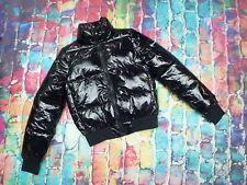 E22 Champion Black Puffer PVC Vinyl Wet Look Jacket Size Small