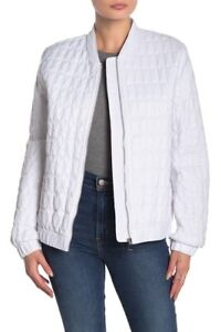 DKNY Packable Quilted Bomber Jacket & Belt Bag L White NEW