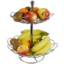 Fruit Basket Bowl 2 Tier Vegetable Rack Stainless Steel Chrome Stand Holder New