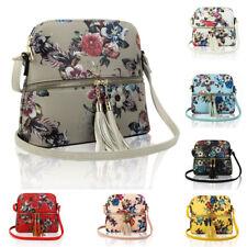 New Women's Tassel Charm Floral Medium Handbag Crossbody Messenger Shoulder Bag