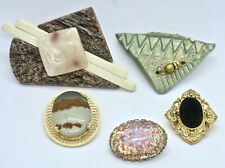 5 Mixed Estate Pin Brooch Lot: Agate Pendant ~ Faux Opal & Other Faux Stone
