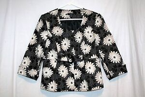 Kim Rogers Signature Black Floral Belted Top Lined Women's Cuff Sleeve Sz 8 Suit