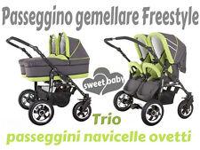 Passeggino gemellare freestyle 3in1 navicelle ovetti grigio+verde lime trio