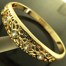 FSA256 GENUINE REAL 18K YELLOW G/F GOLD SOLID DIAMOND SIMULATED HINGED BANGLE