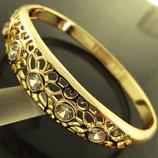 BANGLE BRACELET 18K YELLOW G/F GOLD DIAMOND SIMULATED FILIGREE DESIGN FS3A256