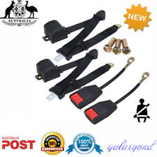 2 x Black Universal 3 Point Retractable AUTO Car Seat Lap Adjustable Belt Set AU