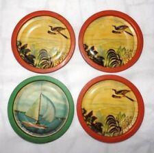 Lot # 4 Antique Bird Litho Print Small Plate Old Ship Litho Print Coaster