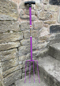 Caldwells Purple 4 Prong / Tine Manure Fork - Tubular Steel - Muck out, Stable