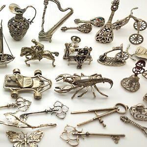 40 x Vintage Solid Silver Italian Made JOB LOT Figurines Miniature NO SCRAP