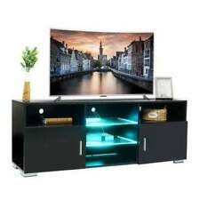 Black LED TV Stand 5 Open Layers and 2 Door-push Storage Shelves with 4 LED Ligh