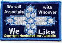 EUREKA WE WILL ASSOCIATE WITH WHOEVER WE LIKE  CLOTH PATCH IRON ON.     D030902
