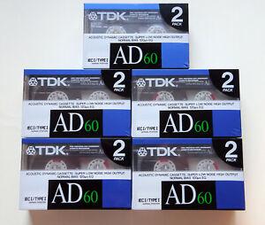 10x TDK AD 60 Cassette Tapes 1988 + OVP + SEALED + In 2er-Packs +