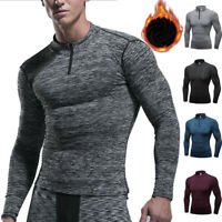 Men's Fleece Thermal Mock Neck Long Sleeve Shirt Running Workout Gym Outdoor Top