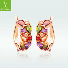 Fashion 925 Silver Plated Hoop Stud Earrings Rose Gold Huggie Crystal Jewelry
