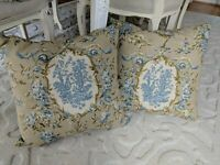 Waverly? Pillow La Petite Ferme Blue Yellow Lake French Country Rooster Toile
