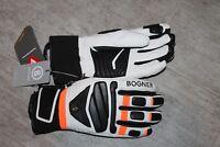 Bogner Herren Leder Ski Handschuh Siro Primaloft Größe 8,5 S Weiß Schwarz Orange