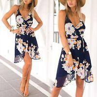 Summer Women Boho Floral Maxi Chiffon Cocktail Party Beach Sundress Short Dress