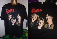 THE POLICE- OUTLANDOS D'AMOUR - 1978 ALBUM ART PRINT T SHIRT-BLACK - LARGE