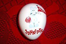 Jennifer Mac Ceramic Egg Rabbit Cheerleader Collectible Trinket Jewlery Holder