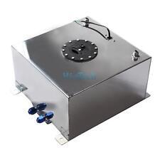 10 Gallon 38L Oil Box Aluminum Race Drift Fuel Cell Tank Level Sender Silver