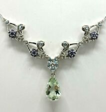Necklace With Green Amethyst, Blue Topaz & Iolite 925er Silver