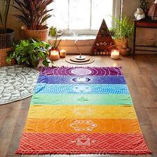 Rainbow Mandala Blanket Wall Hanging Tapestry Boho Stripe Beach Towel Yoga Mat