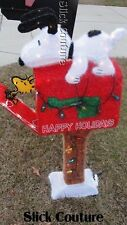 "Chistmas Yard SNOOPY PEANUTS OFFICIAL 3D Mailbox ANIMATED 42"" PreLit SEE VIDEO!"