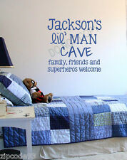 Personalized LIL MAN CAVE Vinyl Lettering  boys wall decals word bedbroom home