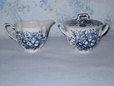 Johnson Brothers Blue Tulips WindsorWare Sugar Bowl with Lid and Creamer