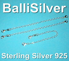 """3 pieces Sterling Silver 925 5"""" Safety Chain Extenders with 2 Lobster Clasps Lot"""