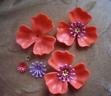10  Vintage Lucite/plastic flower bead sets, orange,48m