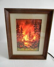 Econolite motion lamp in picture frame design - forest fire scene FREE SHIPPING