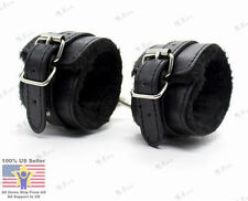 Black Faux Leather Slave Hand Ring Handcuffs Ankle-cuffs Restraint BDSM Sex Toy