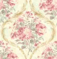 Victorian Floral Wallpaper Damask Pink Green Blue Gold Samples Available