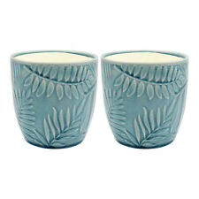 Tropical Leaves Set of 3 11cm Home Ornament Herb Flower Indoor Pot Round Planter