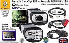 Renault OBD2 EOBD 2 herramienta de diagnóstico puede Clip 159 Reprog 138 Chip completa de grado A +