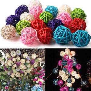 Blesiya 10pcs 3cm Wicker Rattan Ball garniture Craft Wedding Garden Decor New ca