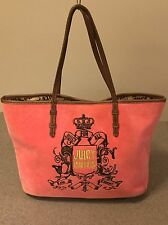 Juicy Couture Pink Gold  Purse Shopper Tote Bag Velour Crown