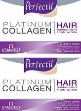 2x Perfectil Platinum Collagen HAIR 10 x Nourishing Beauty Drinks 50ml each