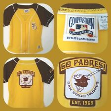 COOPERSTOWN COLLECTION L SAN DIEGO PADRES YELLOW & BROWN W/ FRIAR ON BACK