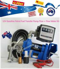 12V Gasoline Petrol Fuel Dispenser Pump + Kits Fuel Nozzle, Flow Meter & Hose