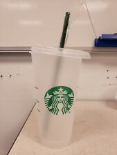 Starbucks Reusable Plastic Venti Cold Cup Clear Frosted 24oz & Straw
