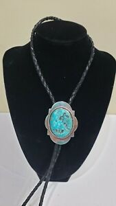 Vintage SAMI Sterling Silver & Turquoise Stone Bolo Tie, Signed