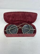 Vintage Antique Willson Metal Sunglasses With Red Case